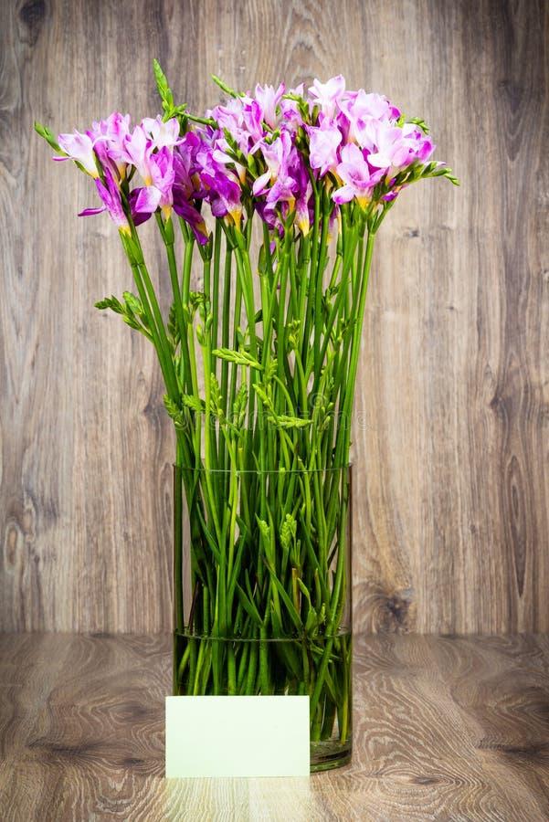 Freesia blommar i vasen arkivbild