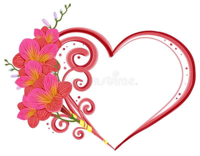 Freesia och hjärta vektor illustrationer
