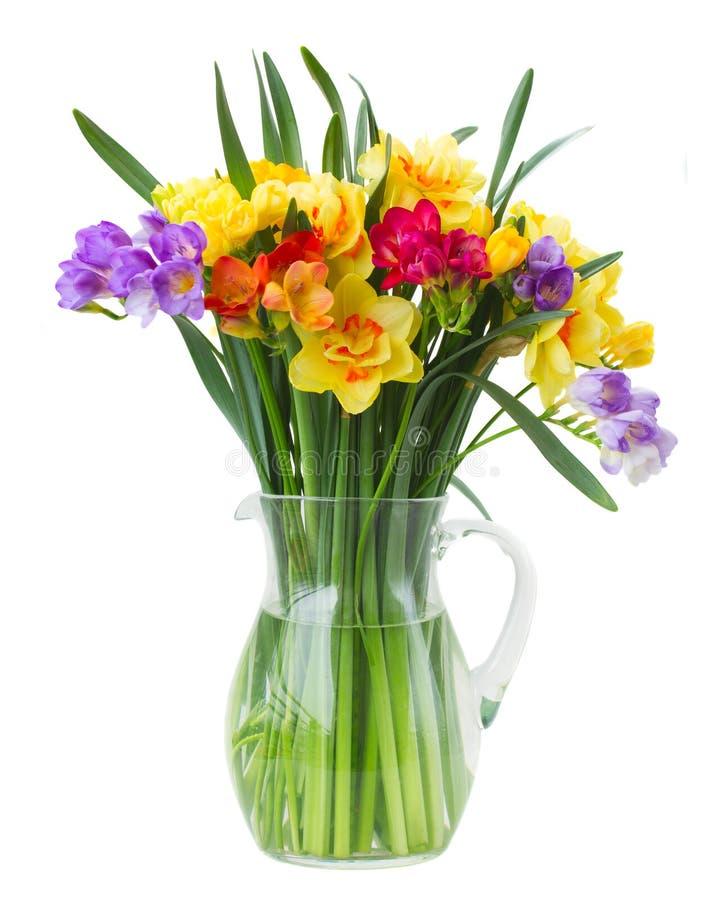Freesia och påskliljan blommar i vas arkivbilder