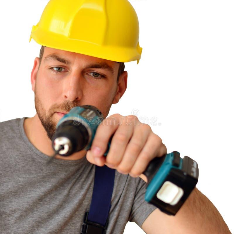 Freestanding rzemieślnika pracownika budowlanego asembler z drilli fotografia stock