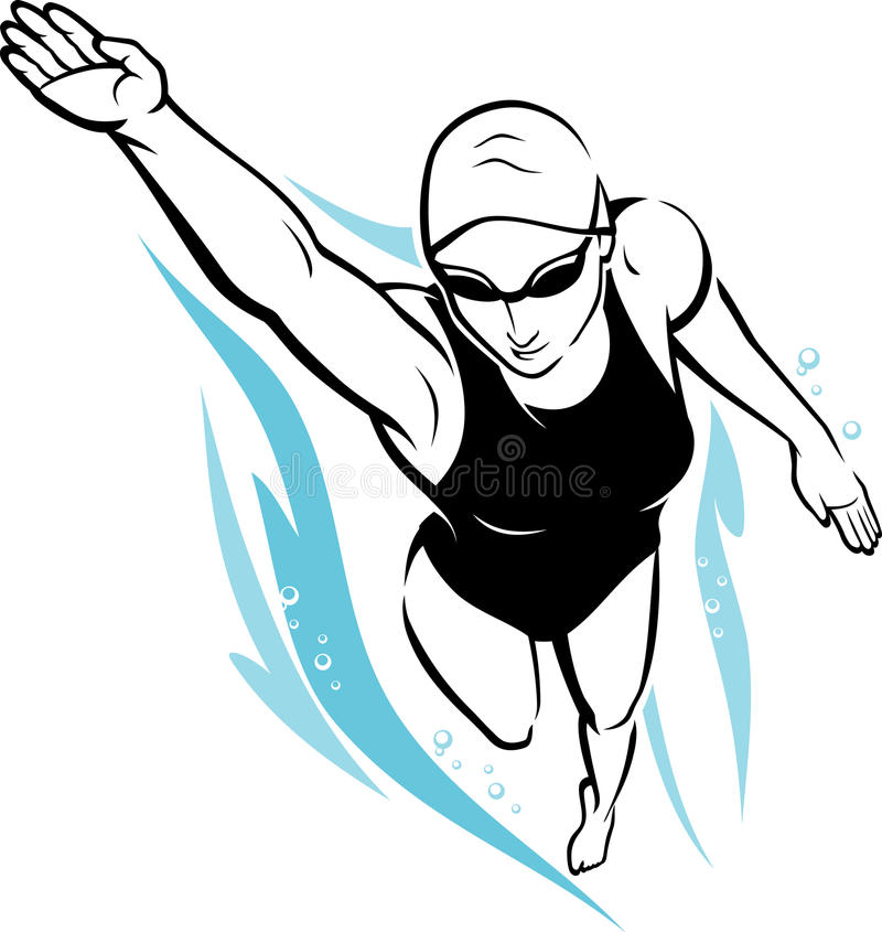 Freestyle Female Swimmer stock illustration