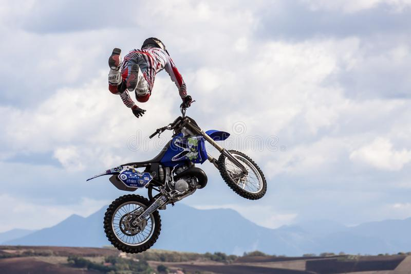 FREESTYLE MOTOCROSS  Show. Fragneto Monforte, Italy - October 9, 2011. Freestyle motocross show in the hills of the province of Benevento royalty free stock photo