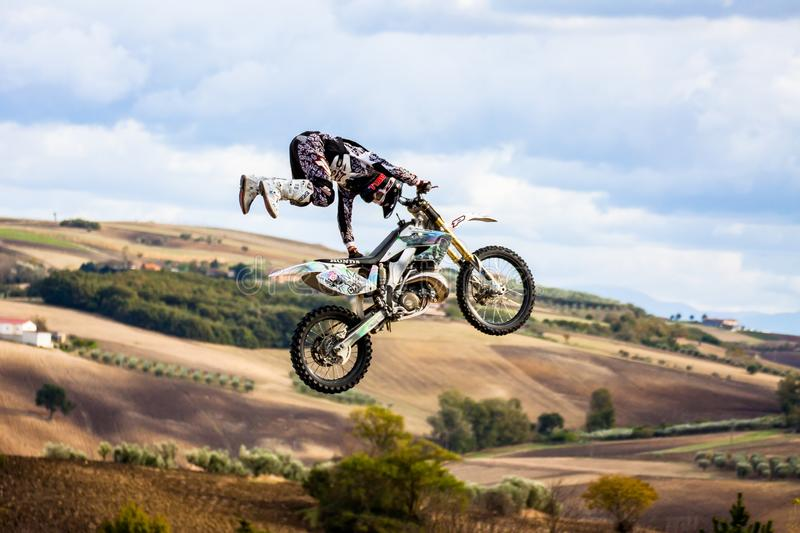 FREESTYLE MOTOCROSS  Show. Fragneto Monforte, Italy - October 9, 2011. Freestyle motocross show in the hills of the province of Benevento stock photography