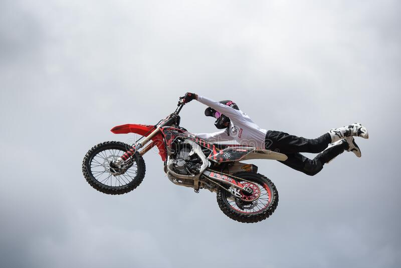 Freestyle Motorcycle Jumping royalty free stock images