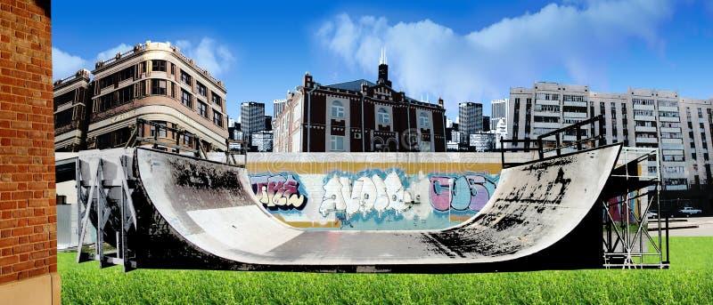 freestyle rampy miejskiej jeździć na łyżwach royalty ilustracja