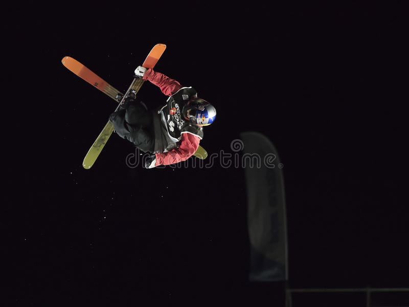 Freestyle Ski Race during Big Air Milan. royalty free stock photos