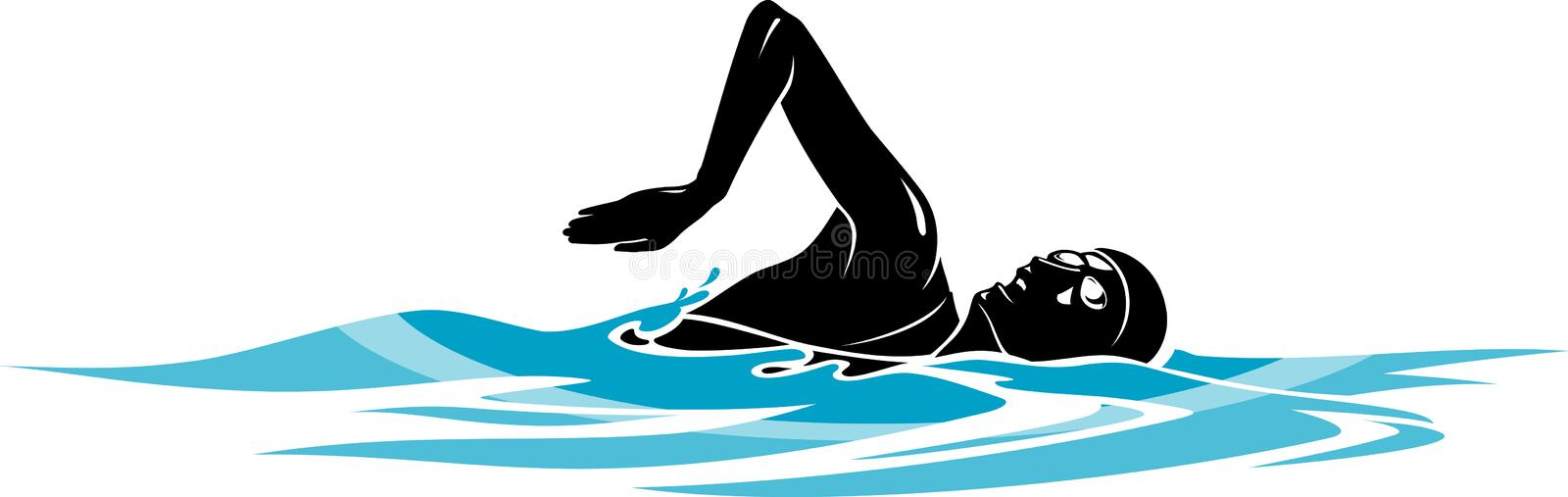 Freestyle Swim. Lady Swimmer silhouette on an abstract water stock illustration