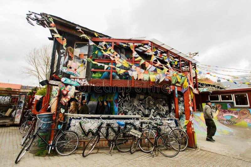 Freetown Christiania, anarchista komuna i stronniczo autonomiczna intencjonalna społeczność, zdjęcie stock