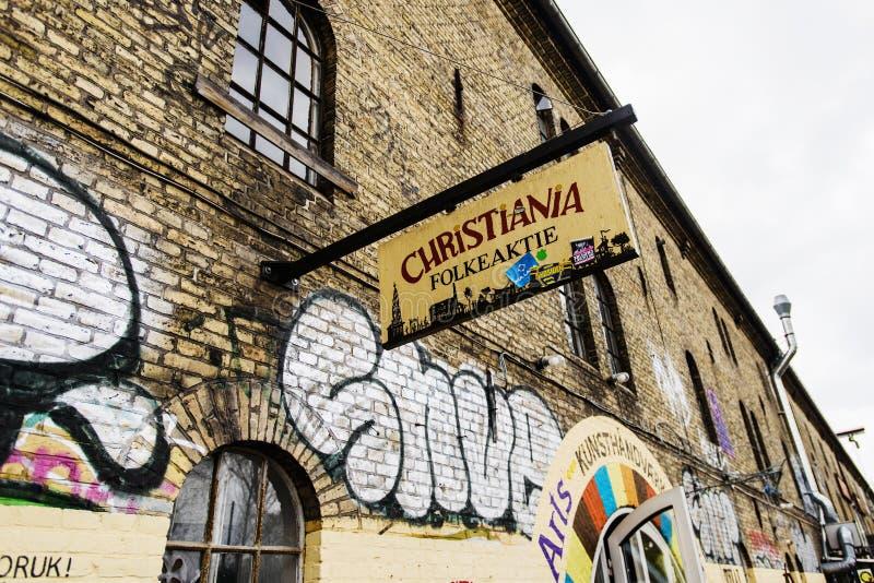 Freetown Christiania, anarchista komuna i stronniczo autonomiczna intencjonalna społeczność, obraz stock