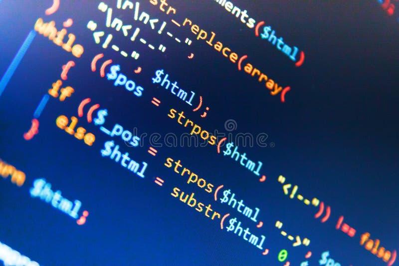 Freeware otwarte źródła projekt Strona internetowa kody Na Komputerowym monitorze Admin dostęp dane źródło fotografia stock