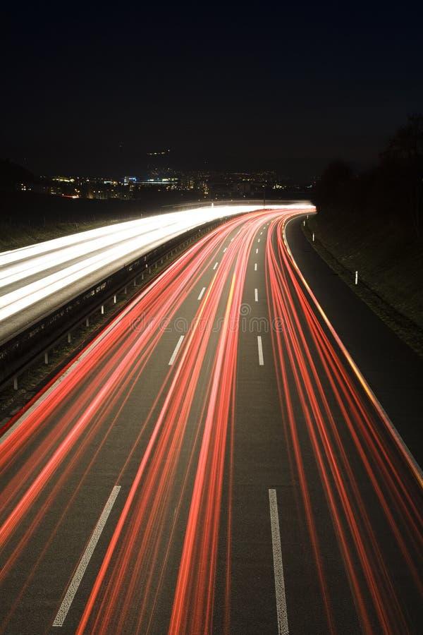 Freeway. Heavy traffic on the freeway at night, Bern, Switzerland, Europe stock image