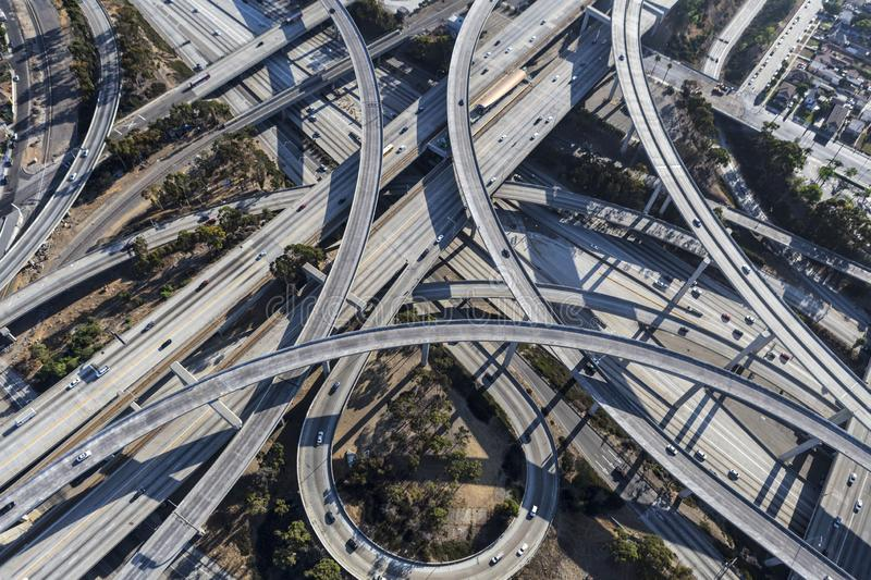 Freeway Aerial Los Angeles Ramps. Aerial view of the 110 and 105 freeway interchange ramps and bridges south of downtown Los Angeles in Southern California royalty free stock photo
