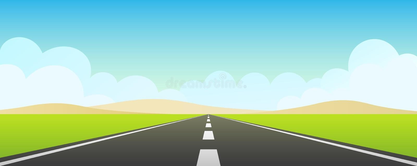 Freeway with blue sky stock illustration