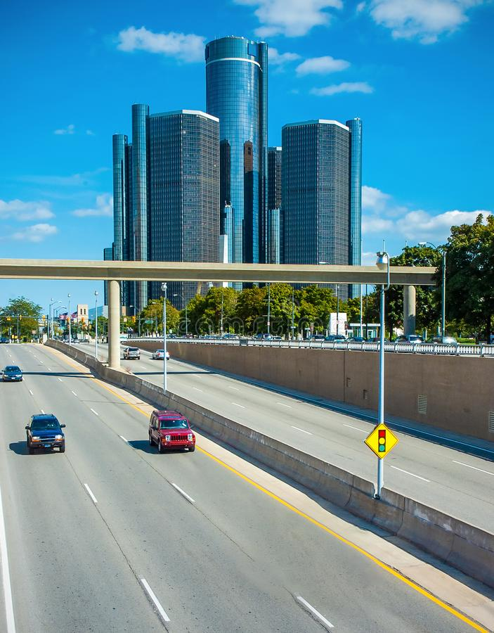 Freeway into Detroit stock photography