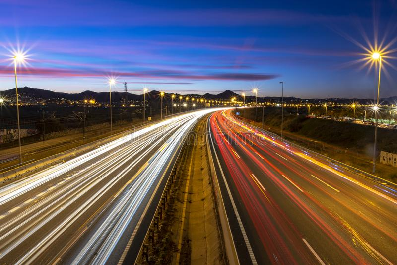 Freeway at dusk royalty free stock image