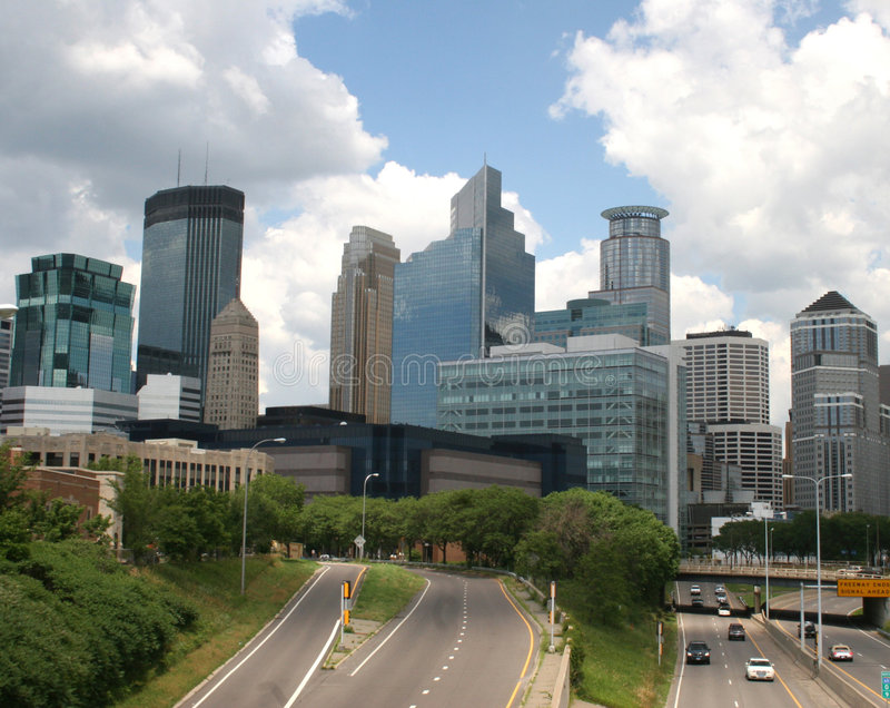 Freeway entrance to city of Minneapolis, Minnesota. 35W freeway entrance to city of Minneapolis, Minnesota, USA stock image