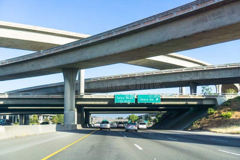 Freeway interchange, south San Jose, Santa Clara county, San Francisco bay area, California stock images