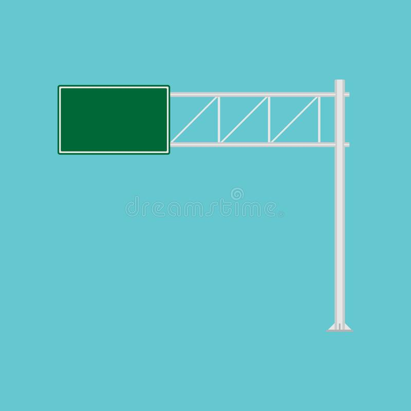Freeway road sign green direction way vector icon. Urban vehicle information route interstate shield. Roadside panel notice royalty free illustration