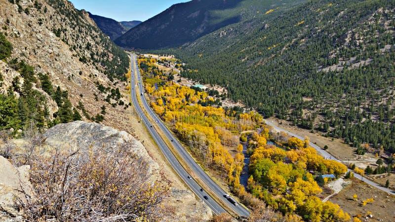 Freeway 70, Rocky Mountain National Park. Gorgeous scenery along freeway 70 in Rocky Mountain National Park, Colorado royalty free stock photography