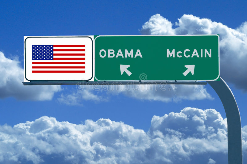 Freeway Sign with American Flag and Obama, McCain stock images