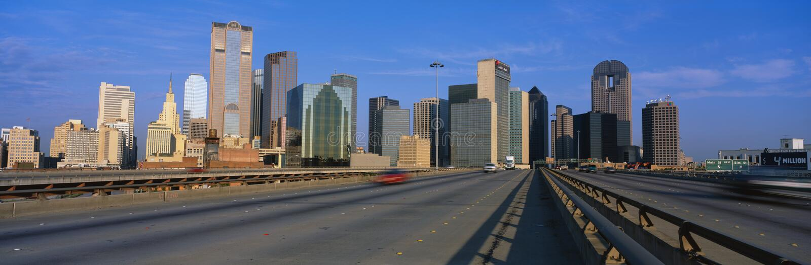 This is the freeway to the center of the city with the skyline in the background. The Chase Tower is the building in the center. royalty free stock images