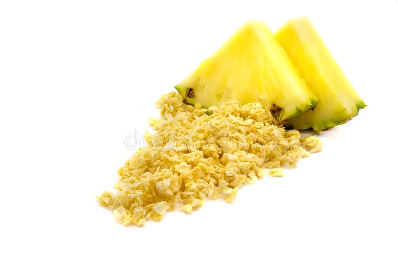 Freeze dried and fresh pineapple ananas on a white background. Lyophilization. Food for astronauts. Isolated stock photography