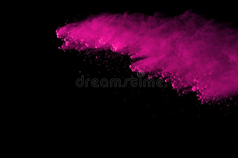 Freeze motion of colored powder explosion isolated on black background. Abstract of Multicolor dust splatted. Abstract pink powder explosion on black background royalty free stock images