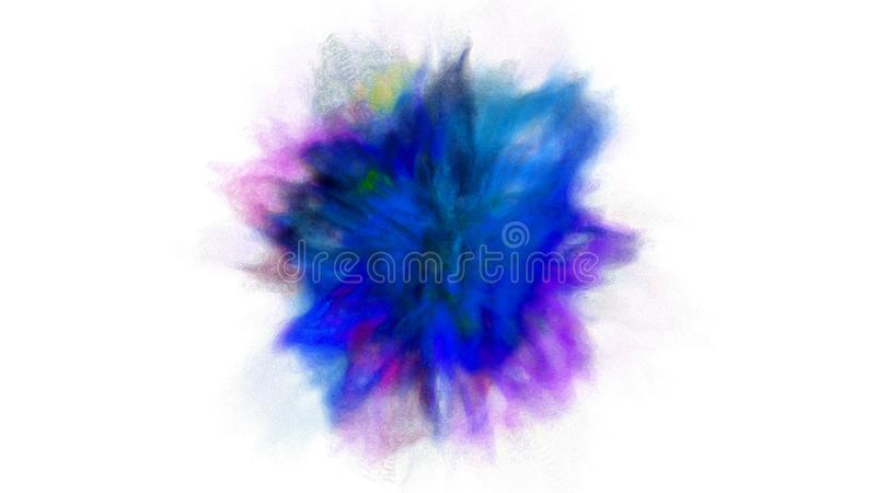 Freeze motion explosion of blue, purple and cyan powder and paint for Holi royalty free stock images