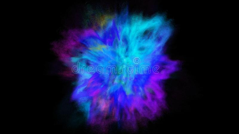 Freeze motion explosion of blue, purple and cyan powder and paint for Holi royalty free stock photography