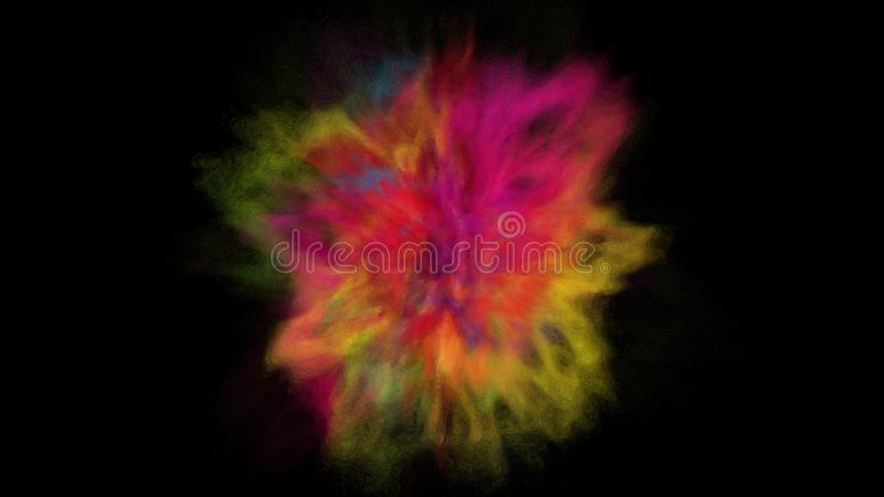 Freeze motion explosion of prismatic rainbow multicolored powder paint for Holi royalty free stock photo