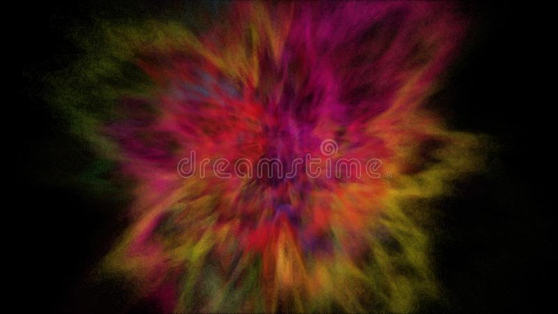 Freeze motion explosion of prismatic rainbow multicolored powder paint for Holi. Freeze motion explosion of prismatic rainbow multicolored powder and paint for royalty free illustration