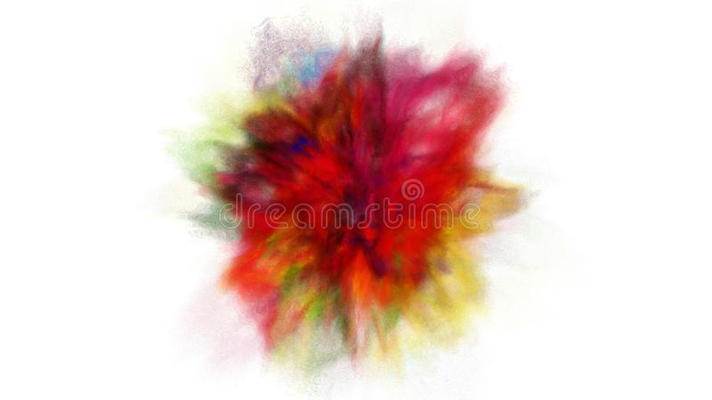 Freeze motion explosion of prismatic rainbow multicolored powder paint for Holi. Freeze motion explosion of prismatic rainbow multicolored powder and paint for stock illustration
