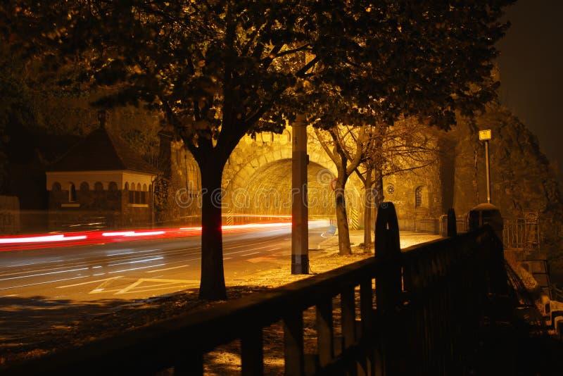 Freezelight i tunnelen på natten arkivbild