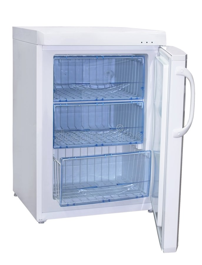 Freezer. Open freezer with three sections