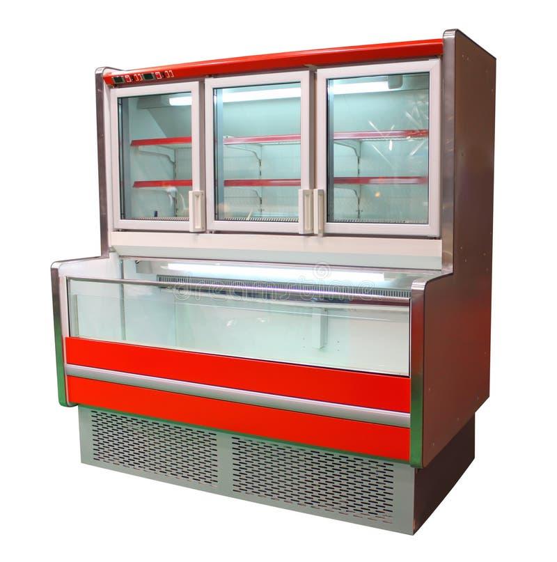 Freezer cabinet. Empty freezer cabinet isolated on white stock image
