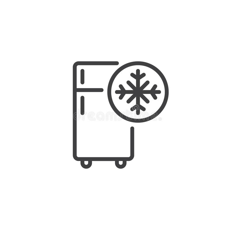 Freezer cold line icon. Outline vector sign, linear style pictogram isolated on white. Refrigerator and snowflake symbol, logo illustration. Editable stroke royalty free illustration
