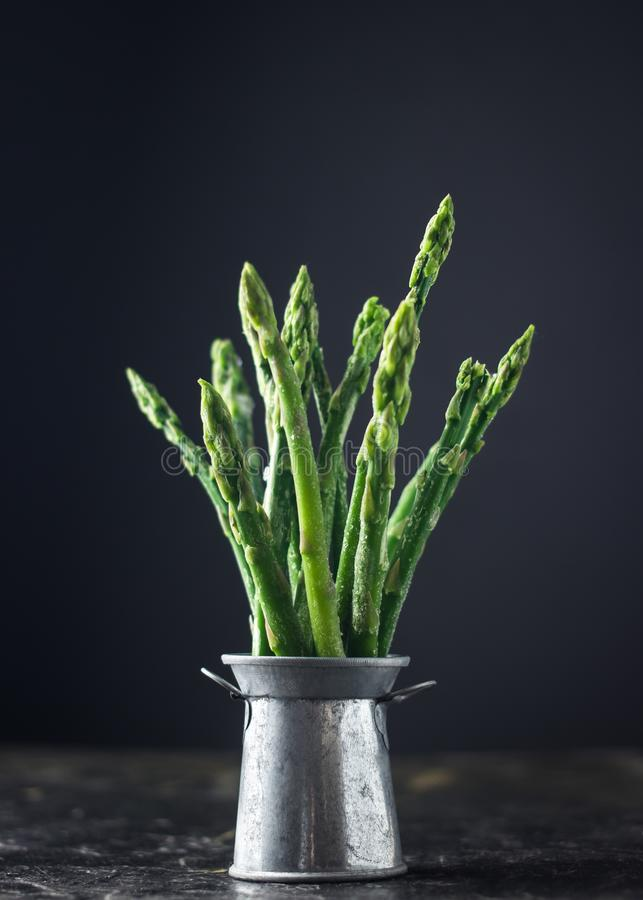 Frozen asparagus on tin can. Freezer green food on dark background stock images