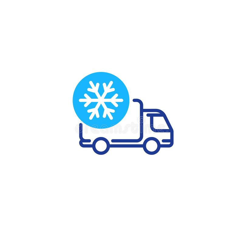 Freezer truck line icon, cold product delivery transportation vector illustration