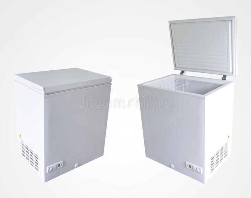 Freezers. Open and closed freezers isolated on plain background royalty free stock images