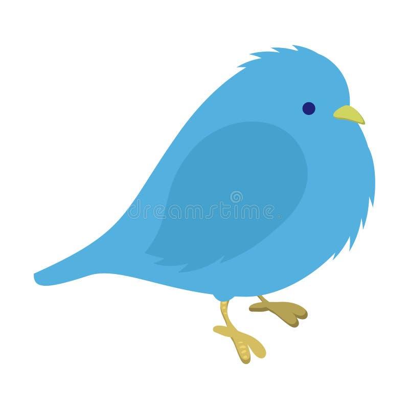 Freezing blue bird illustration. Single cartoon illustration isolated on a white vector illustration