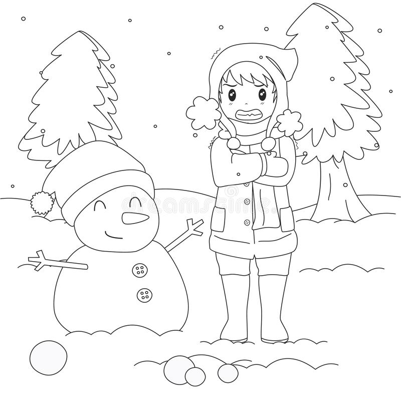Freezing Boy on Winter Cold, Outline Cartoon Vector. Freezing and shivering young boy on winter cold, standing beside a snowman. cartoon illustration royalty free illustration