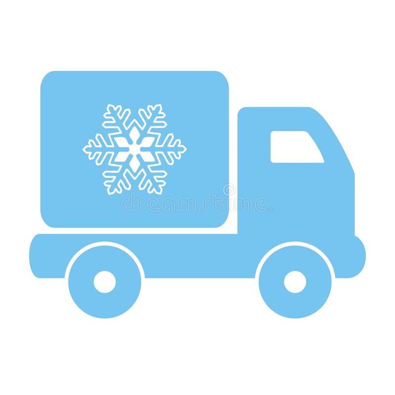 Freezing car. Blue sihouette. Delivery of frozen food vector illustration