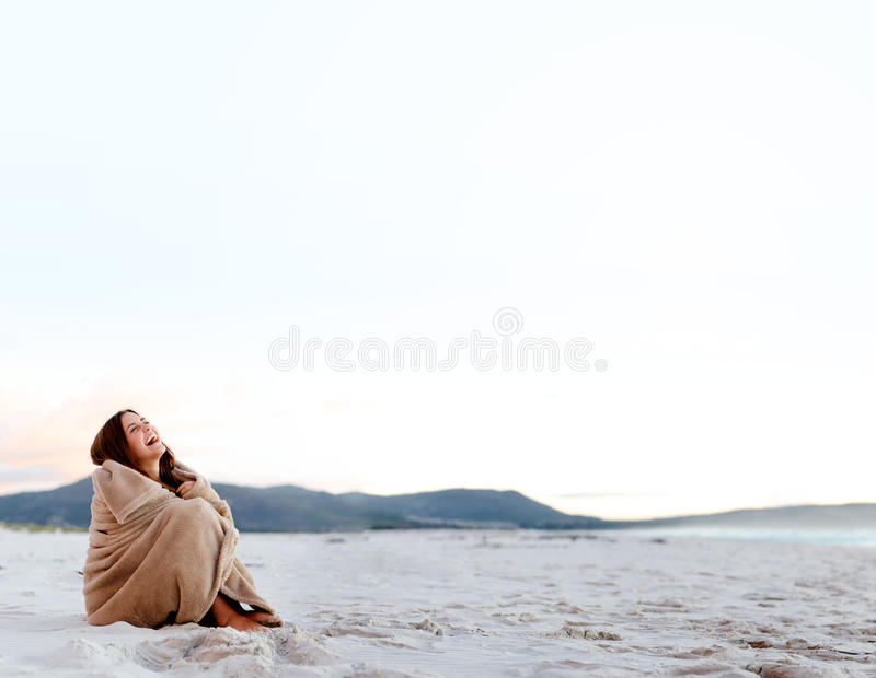 Freezing cold woman royalty free stock photo