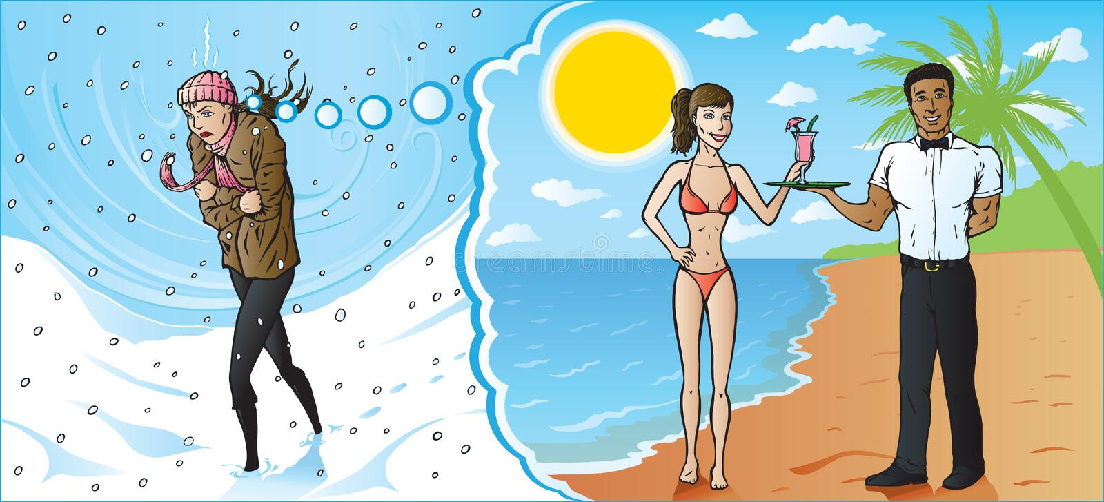 Freezing girl dreaming of a warm vacation. Poor girl walking and freezing, dreaming of a vacation down south stock illustration