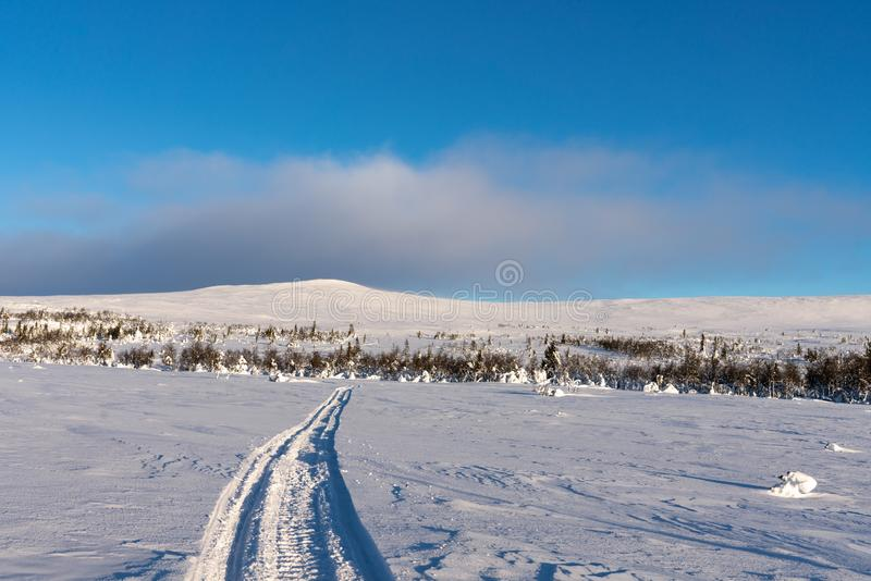 Landscape view in sunlight from the northern Swedish mountains stock images