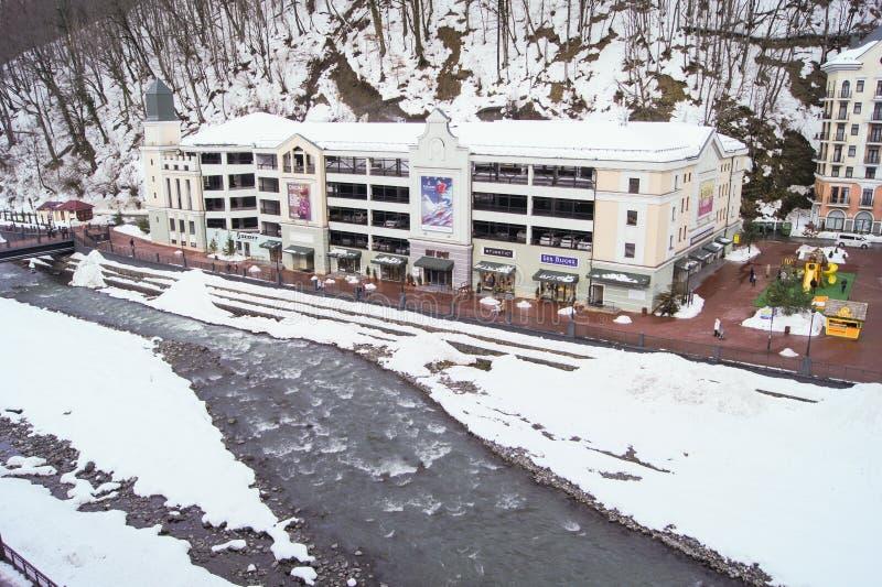 Freezing mountainous river. stock photos