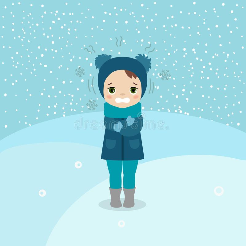 Cold weather girl. Freezing and shivering young girl on winter cold. Cartoon style illustration. Winter landscape royalty free illustration