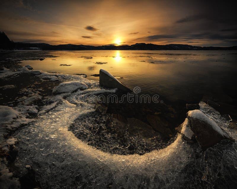 Freezing shores of Jonsvatnet lake near Trondheim, first snow, winter time, Norway.  royalty free stock images