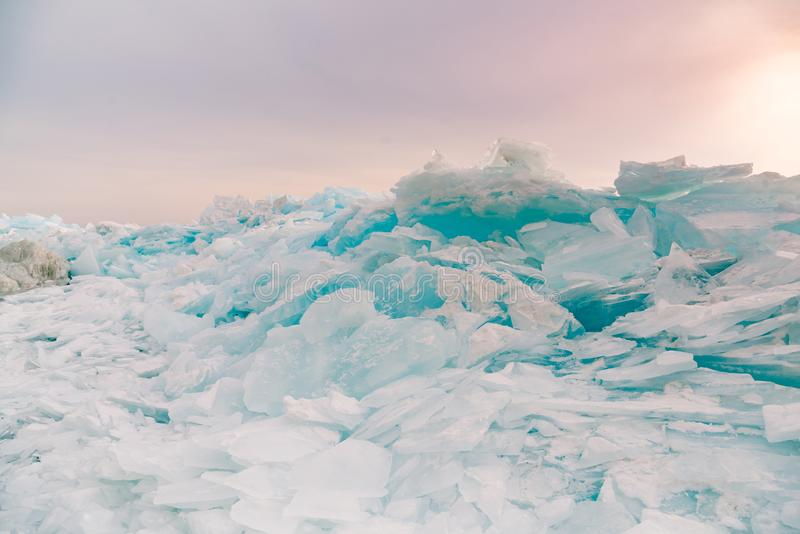 Freezing water lake surface breaking in Baikal water lake winter season royalty free stock photo