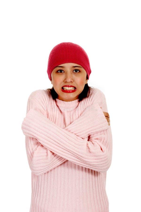 Freezing Young Female Stock Photo